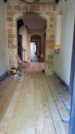 Take a tile prep slab install subfloor nail down pine wood floor.