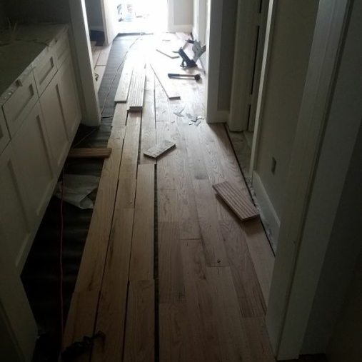 Solid hardwood floor nail down on plywood 5 inch Red Oak.